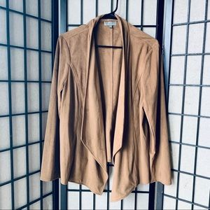 JM Collection brown suede open front cardigan XL